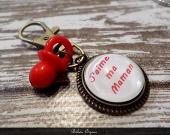 "Keychain 2cm ""MOM"" glass cabochon"
