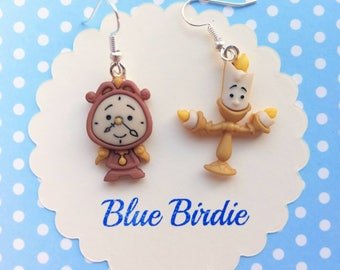Disney Beauty and the Beast earrings Disney jewelry Cogsworth and lumiere Disney jewellery Disney earrings Disney dangle earrings gifts