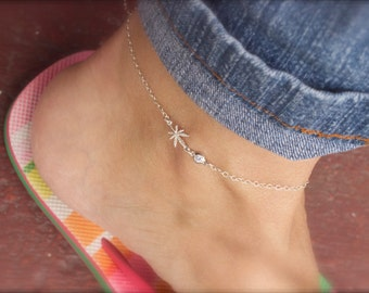 Mini marijuana charm anklet with cz- cannabis ankle bracelet - pot anklet - leaf anklet - tiny weed anklet - mary jane - 420 - grass anklet