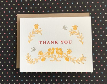 Thank You French Floral Letterpress Card