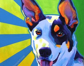 Kelpie, Pet Portrait, DawgArt, Dog Art, Kelpie Art, Pet Portrait Artist, Colorful Pet Portrait, Pet Portrait Painting, Art Prints, Art