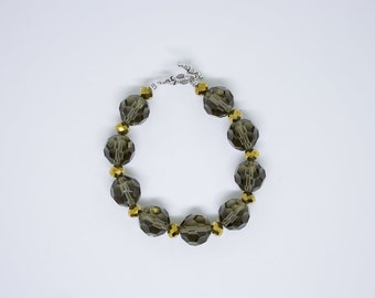 Glass beaded bracelet, Tumbled Bracelet, handmade glass bracelet, crystal bracelet