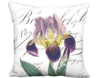 18x18 Inch - READY TO SHIP - Linen Cotton Plush Purple Iris Pillow - French Cottage Pillow Cover - Smoky Radiant Orchid Flower Cushion Cover