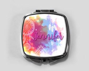 compact mirror, pocket mirror, mirror, personalized mirror, gift for her, bridesmaid gift, custom compact, purse mirror, boho, bridesmaids
