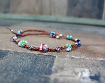 Boho Anklet, Leather Anklet, Leather Bracelet, Boho Wedding, Bohemian Jewelry, Anklet Bracelet, Ankle Bracelet, Beach Wedding Jewelry