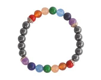 Powerful chakra bracelet / hematite chakra bracelet / beaded bracelet / chakra jewelry / energy bracelet / yoga bracelet / yoga gift
