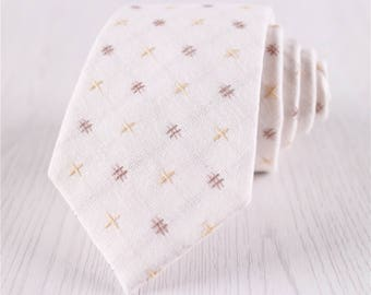 Ivory White Cross Pattern Jacquard Cotton Neck Ties, Men's Gift Boxed Novel Geometric Necktie with Standard 3 inch/7.5 cm Width-NT.151S