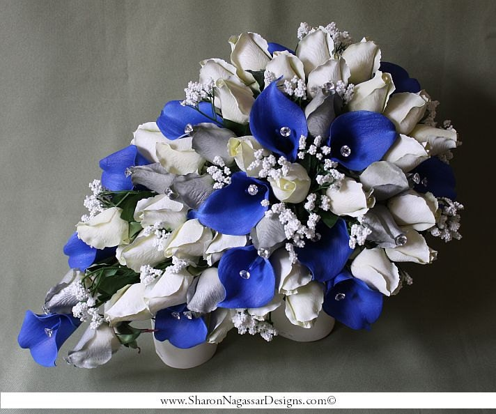 Royal, blue, white, silver, cascade/cascading, bouquet, Real Touch ...