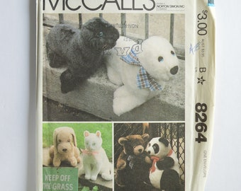 1980s UNCUT McCall's Crafts Sewing Pattern 8264 Vintage Retro Stuffed Plush Animals, Bear, Panda, Seal, Dog, Cat