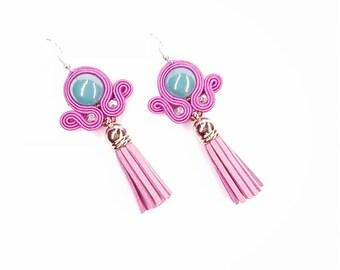 Soutache Earrings, Dangle Soutache Earrings, Earrings with tassels