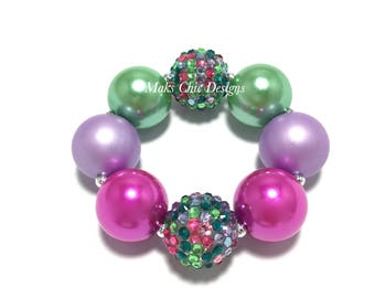 Toddler or Girls Hot Pink, Green and Purple Chunky Bracelet - Spring chunky bracelet - Easter Chunky Bracelet - Fairy Garden Bracelet