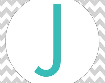 Monogram - Chevron - Gray & Teal - J (Art Print - Multiple Sizes Available)