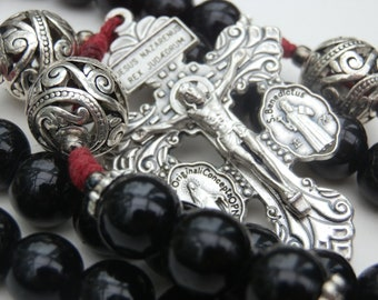 Pardon Crucifix Catholic Rosary beads, St.Benedict Medal Centre, Pater beads are Bali beads, religious gift, prayer beads