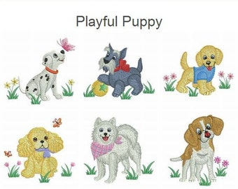 Playful Puppy Machine Embroidery Designs Instant Download 4x4 5x5 hoop 10 designs APE2301