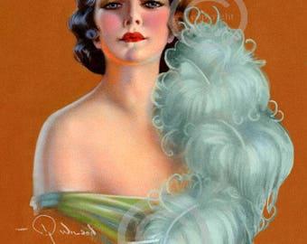 Rare Art Deco Flapper Print,  Glamour Portrait, at the ball,  Holding Blue Fan, jazz age, pin-up, R Wilson Hammell, Giclee Art , 11x14 1920s