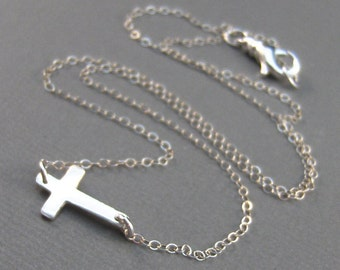 Mary,Necklace,Wedding,Cross Necklace,Cross,Sterling Silver,Silver,Horizontal,Sideways Cross. Handmade jewelry by valleygirldesigns.