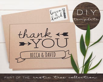 Rustic Thank You Cards - Rustic Tree Collection - Thank You Cards - DIY Printable Kraft