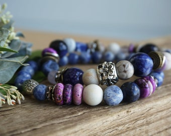 """Set of 2 Bohemian """"Dawn Over River"""" Stack Bracelets, Boho Earthy Nature Beach Rustic Gypsy Indie Crystal Stretch Blue Purple Bracelet ByLEXY"""