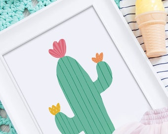 Cactus print, kids room decor, bedroom decor for boys, cactus wall art, cacti print, bedroom decor for girls, cactus decor, kids wall art