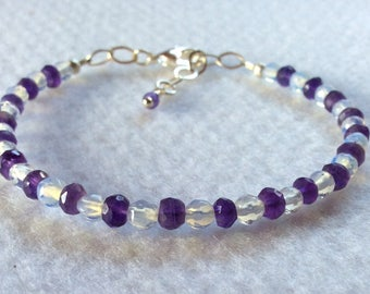 African Amethyst and moonstone bracelet with silver, February's birthstone