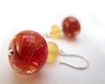 Lampwork earrings 'Sweetly red'