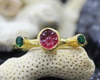 Carved Button With Emerald Handmade Hammered Ring 925K Sterling Silver Ring 18K Gold Plated Over Silver
