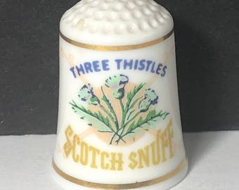 1980 FRANKLIN MINT THIMBLE vintage porcelain sign food product advertising gold trim figurine miniature Three 3 Thistles scotch snuff