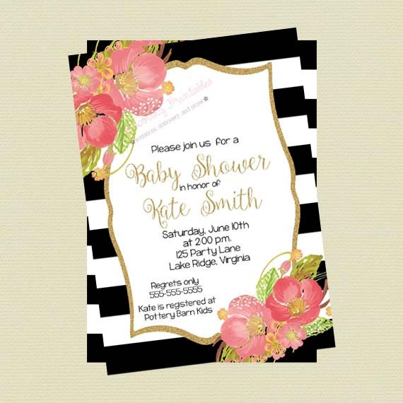 Baby shower invitation floral black and white stripes mightylinksfo