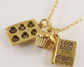 Cupcake Cook Charm Necklace
