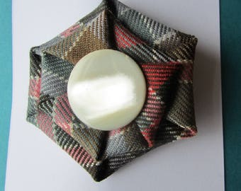 Tartan Brooch in Reproduction Colours with Vintage Mother of Pearl Button
