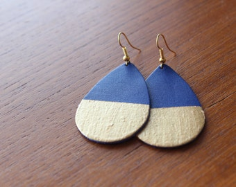NEW LISTING *** Color Block Leather Earrings Silver Plated Hooks, Gold plated hooks, Royal Blue, Cobalt Blue