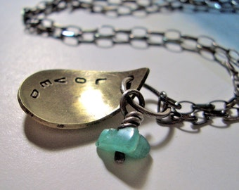Small Scoop Charm Necklace: Personalized in Brass and Sterling Silver