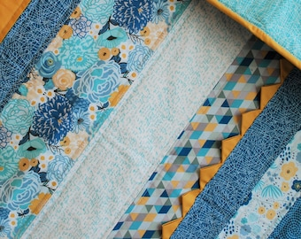 Blue, Teal, and Gold Baby Quilt for Girl, Floral Baby Blanket, Blue and Teal Flowers Baby Quilt for Girl, Baby Shower Gift, Newborn Blanket
