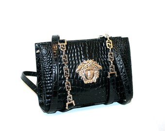 Vintage GIANNI VERSACE COUTURE Bag Black Croc Embossed Leather Medusa Tote -Authentic-