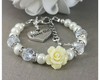 Flower Girl Jewelry Flower Girl Gift Ivory Flower and Pearl Bracelet Flower Girl Bracelet Wedding Jewelry Gift from Bride Ivory Bracelet