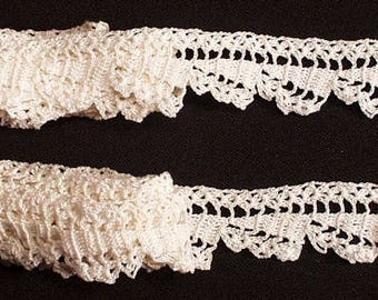 Antique Lace Crochet Lace Scalloped  For Crafters Hand Made