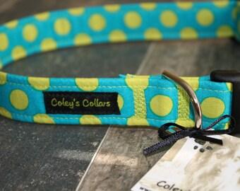 """Dog Collar, Dog Collars, Custom Dog Collar, Boy Dog Collar, Girl Dog Collar, Blue and Green Dog Collar, """"The Polka in Blue"""""""