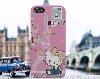 Hello Kitty Paris Eiffel Tower Love Cute Pink Phone Case Cover Fits iPhone and Samsung models