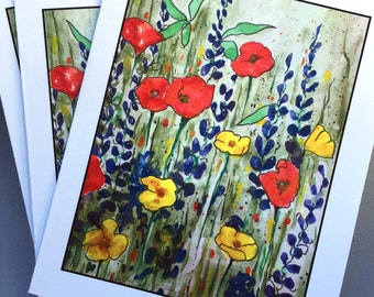 Poppies Galore - Note Card Pack of 8 cards & envelopes