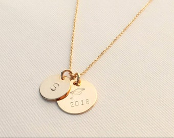 Graduation Necklace • Personalized • Graduation Cap with Year (2018 or any year) • Initial • 15 & 12mm two discs • Great Gift for a Graduate