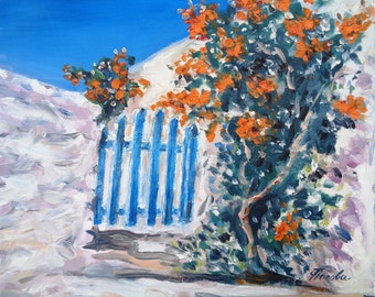 Oil Painting Bougainvillea Tree Blue Door White Greek Island House Miniature Original  Small Art Gift Home Decor