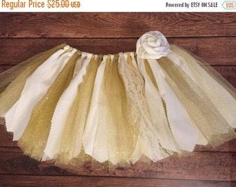 Ivory and Gold Scrap Fabric Tutu