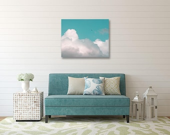 Cloud Photography, Print or Canvas Gallery Wrap, Nature Art, Bird in Flight, Bird Flying Picture, Nursery Wall Decor, Teal, White - Soar