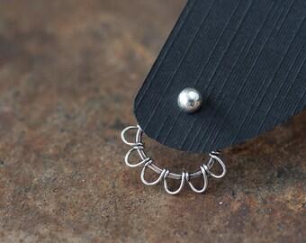 Silver wire wrapped ear jacket earrings, front and back earring, unique artisan earrings, interchangeable stud earrings
