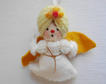 Yarn Angel Doll Ornament, #Hallmark Keepsake Vintage Ornament, Yellow Hair, White Dress, Gold Wings, Early 1970's