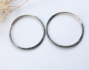 10g Sterling Silver Hammered Hoop Earrings for Gauges Plugs Ear Weights Hoops Primitive Hoops Rustic Brass Hoops Earrings Handmade 10 Gauge