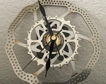 Bike Gear Clock/Recycled Bike Parts/Found Objects Clocks/Steampunk Style Clock/Upcycled Bike Gear Clock