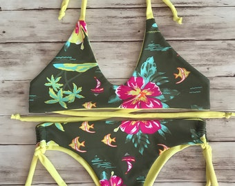 Bikini set Brazilian thong cheeky bikini triangle top  women swimwear