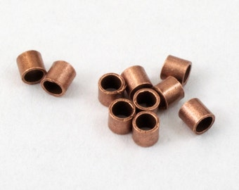 2mm Antique Copper Tube Crimp #MFY003