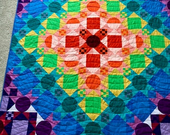"Color Block 72"" x 90"" Quilt"
